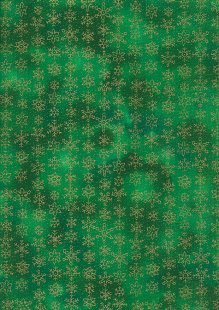 Fabric Freedom Traditional Gilded Christmas - Snowflakes FF509-4 Green
