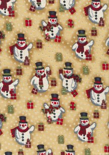 Fabric Freedom Traditional Gilded Christmas - Santas FF502-2 Gold