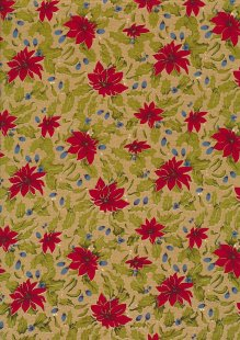 Fabric Freedom Traditional Gilded Christmas - Poinsettias FF507-2 Gold
