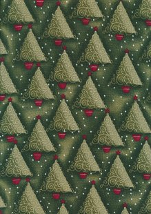 Fabric Freedom Traditional Gilded Christmas - Christmas Trees FF503-2 Dark Green