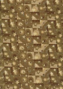 Fabric Freedom Traditional Gilded Christmas - Stars & Squares FF512-2 Gold