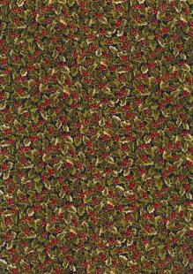 Fabric Freedom Traditional Gilded Christmas - Holly FF508-1 Black