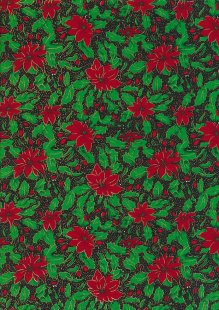 Fabric Freedom Traditional Gilded Christmas - Poinsettias FF507-1 Black