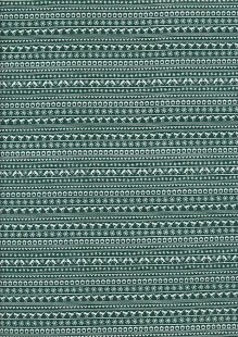Fabric Freedom Festive Friends - Linear Robins & Hearts FF301-2 Green