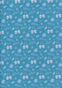 Fabric Freedom Winter Warmer - Presents & Mittens FF210-1 Blue