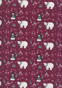 Fabric Freedom Winter Warmer - Penguins, Polar Bears & Robins FF206-2 Red