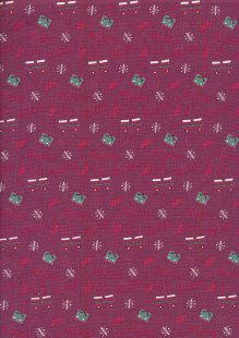 Fabric Freedom Winter Warmer - Presents & Mittens FF210-2 Red