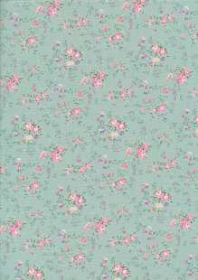 Fabric Freedom Daydream - Ditsy Floral Sprig On Turquoise
