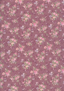 Fabric Freedom Daydream - Ditsy Floral Sprig On Wine