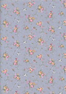 Fabric Freedom Daydream - Ditsy Floral Sprig On Blue