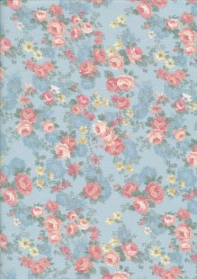 Fabric Freedom Daydream - Rose On Blue