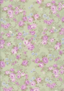 Fabric Freedom Daydream - Rose On Green