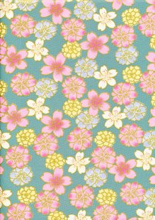 Fabric Freedom - Oriental Floral Gilded Cherry Blossom Blue