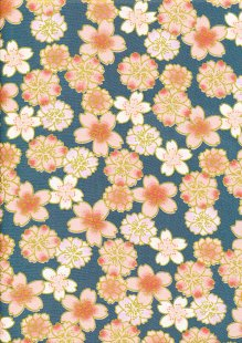 Fabric Freedom - Oriental Floral Gilded Cherry Blossom Jade