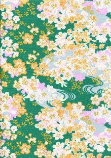 Fabric Freedom - Oriental Floral Gilded Cherry Blossom Dark Teal