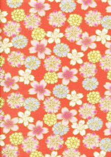 Fabric Freedom - Oriental Floral Gilded Posy Hot Pink