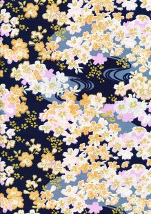 Fabric Freedom - Oriental Floral Gilded Cherry Blossom Navy
