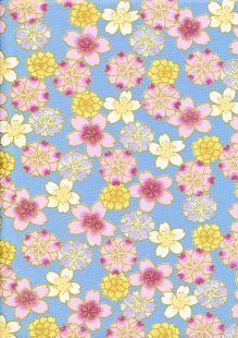 Fabric Freedom - Oriental Floral Gilded Posy Navy