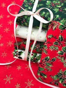 Craft Cotton Co Xmas Holly Fat 1/4 Pack - 6 pieces