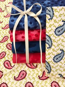 Craft Cotton Co Mixed Paisley Red & Blue Paisley Fat 1/4 Pack - 6 pieces