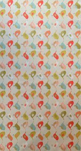 Furnishing Fabric - Birds Orange