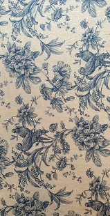 Furnishing Fabric - Floral and BIrds Denim Blue
