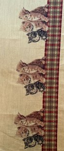 Furnishing Fabric - Cats Beige/Red