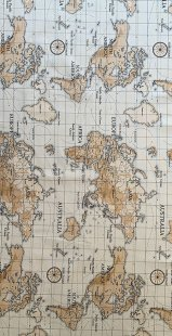 Furnishing Fabric - World Map Beige