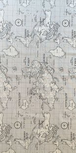 Furnishing Fabric - World Map Silver