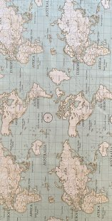 Furnishing Fabric - World Map Pale Green