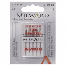 Sewing Machine Needles: Universal: 60/8(2), 70/10(2), 80/12(1): 5 Pieces