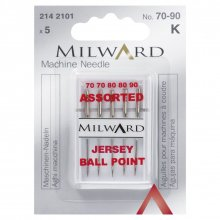 Sewing Machine Needles: Jersey: 70/10(2), 80/12(2), 90:14(1): 5 Pieces