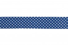 Bias Binding: Cotton: Printed: Dots: 20mm: Navy Blue