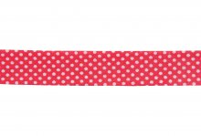 Bias Binding: Cotton: Printed: Dots: 20mm: Red