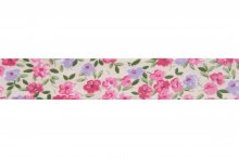 Bias Binding: Cotton: Printed: Floral: 220mm: Pnk Grn Lil Crm