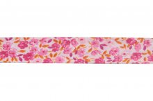 Bias Binding: Cotton: Printed: Floral:220mm: Pink Orange Pnk