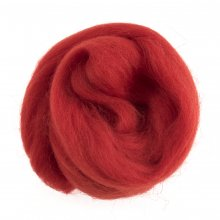 Natural Wool Roving: 10g: Red