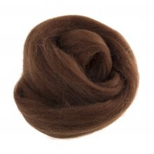 Natural Wool Roving: 10g: Coffee