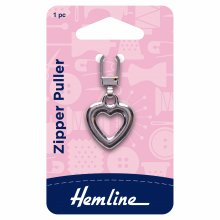 Zipper Puller: Heart  - Silver