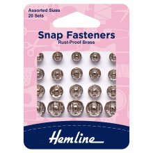 Snap Fasteners: Sew-on: Nickel: Assorted: Pack of 20