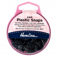 KAM Plastic Snaps: 25 x 12.4mm Sets: Black