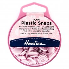 KAM Plastic Snaps: 25 x 12.4mm Sets: Pink