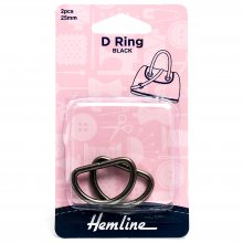 D Ring: 25mm: Nickel Black: 2 Pieces