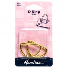 D Ring: 32mm: Gold: 2 Pieces