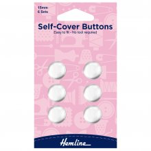Self Cover Buttons: Metal Top - 15mm