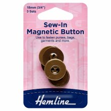 Button: Magnetic: Sew-In: 18mm: Brass: 3 Sets