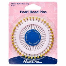 Assorted Pearl Heads Pins: Gold - 38mm, 40pcs