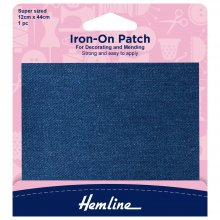 Iron-on Repair Fabric: Mid Denim - 12 x 44cm