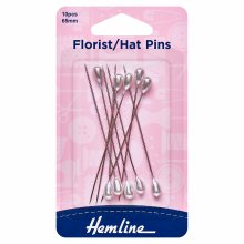 Florist/Hat Pins: Nickel - 65mm, 10pcs