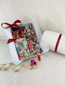 Gift Hamper - Gilded Japanese 1/2 metres, Threads, Wadding & Display Box
